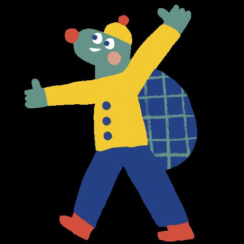piirretty iloinen kilpikonna