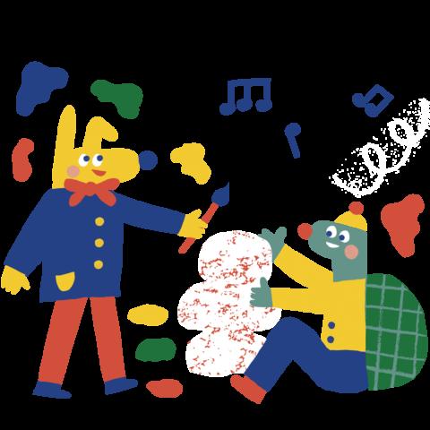 kaksi piirrettyä hahmoa maalaavat väreillä