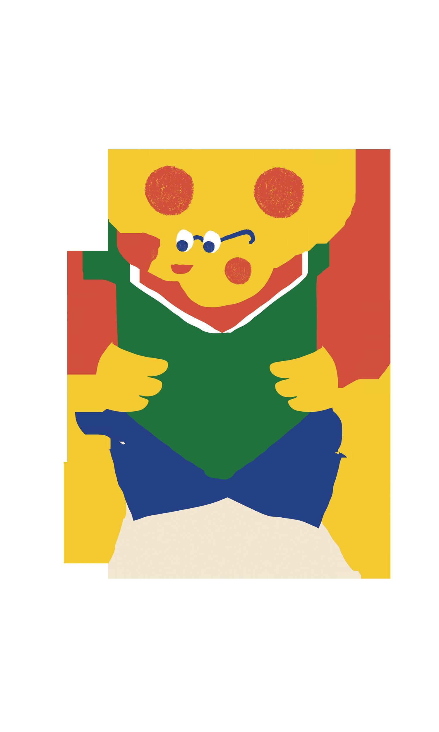 piirretty karhuhahmo lukee kirjaa