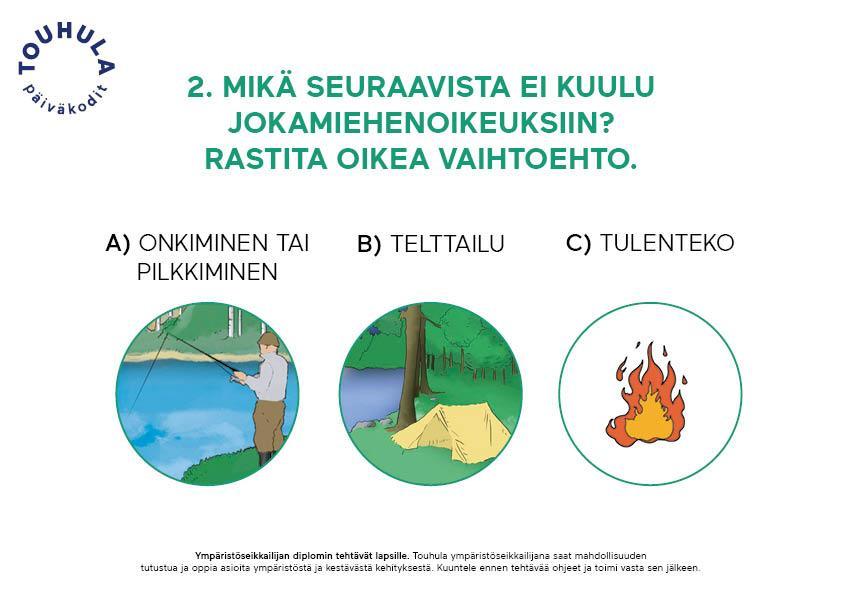 Touhulan ympäristöseikkailijan diplomissa pohditaan jokamiehenoikeuksia.