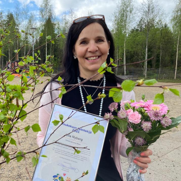Ulla Nyberg työskentelee varhaiskasvatuksen opettajana Touhula Lippulaivassa